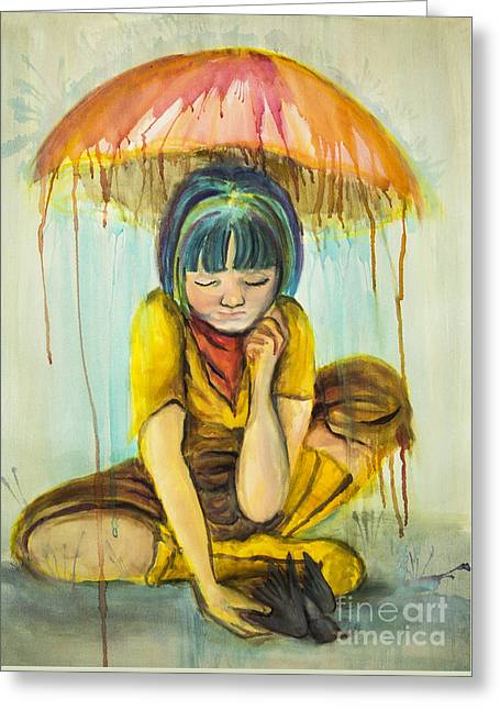 Greeting Card featuring the painting Rain Day  by Angelique Bowman