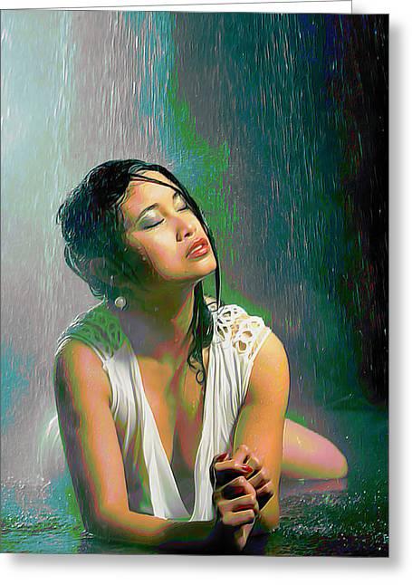 Rain Down On Me Greeting Card by  Fli Art