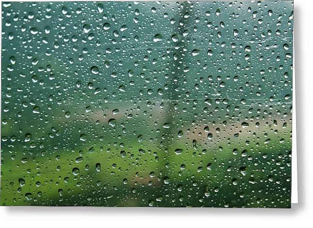 Rain Drops On A Cable Car Going Greeting Card by Rona Schwarz