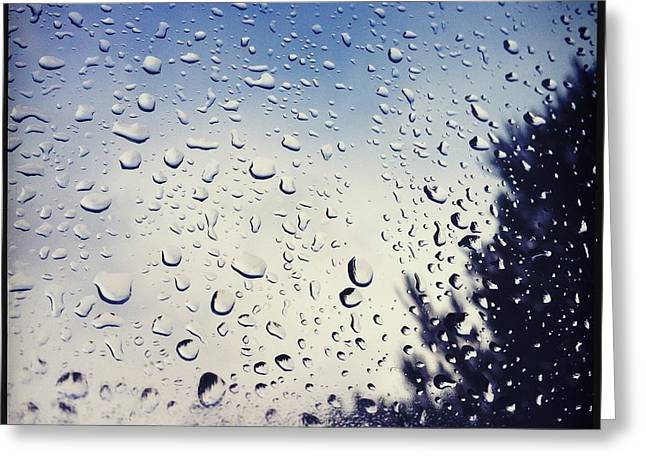 Rain Drops On A Window Pane Greeting Card by Marco Oliveira