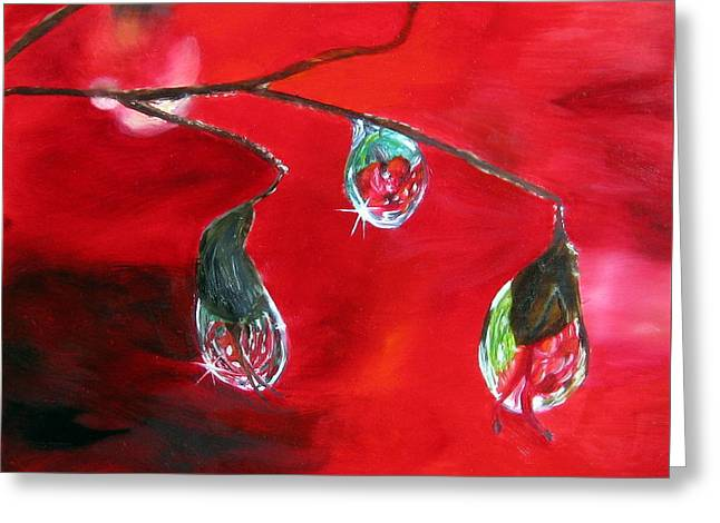 Greeting Card featuring the painting Rain Drops Study by LaVonne Hand