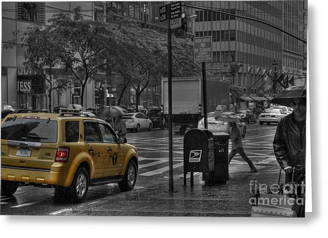 Rain In Manhattan Greeting Card