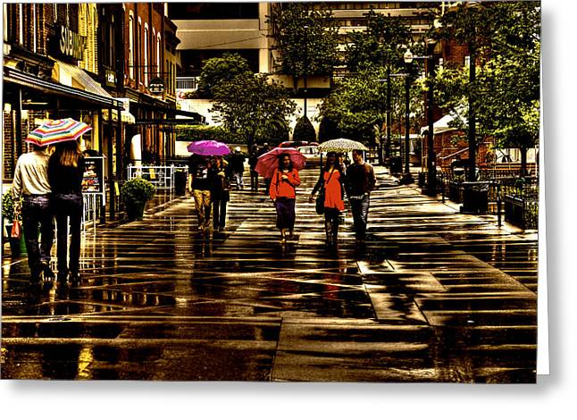 Rain In Market Square - Knoxville Tennessee Greeting Card by David Patterson
