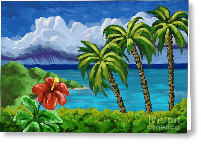 Greeting Card featuring the painting Rain In The Islands by Tim Gilliland