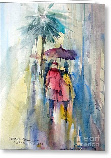 Rain Greeting Card by Natalia Eremeyeva Duarte