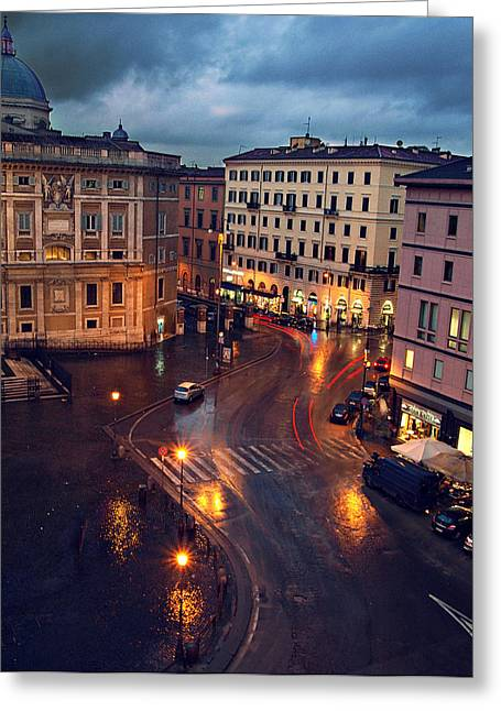 Rain Night In Rome Greeting Card by Patrick Horgan