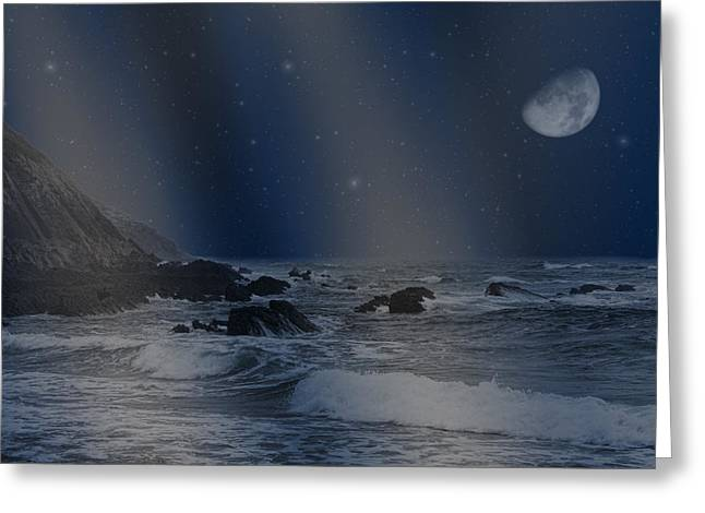 Rain Of Stars On The Sea  Greeting Card