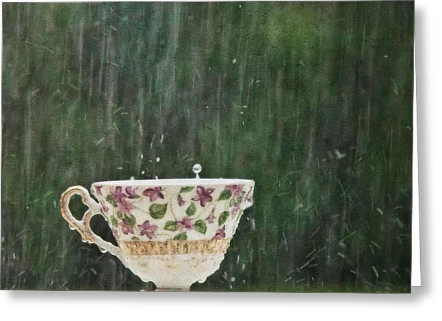 Rain On A Teacup - II Greeting Card