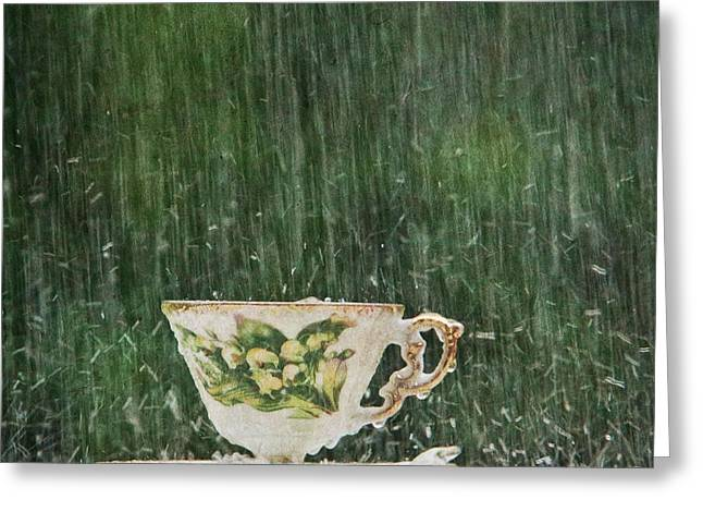 Rain On A Teacup - I Greeting Card by Mary Hershberger