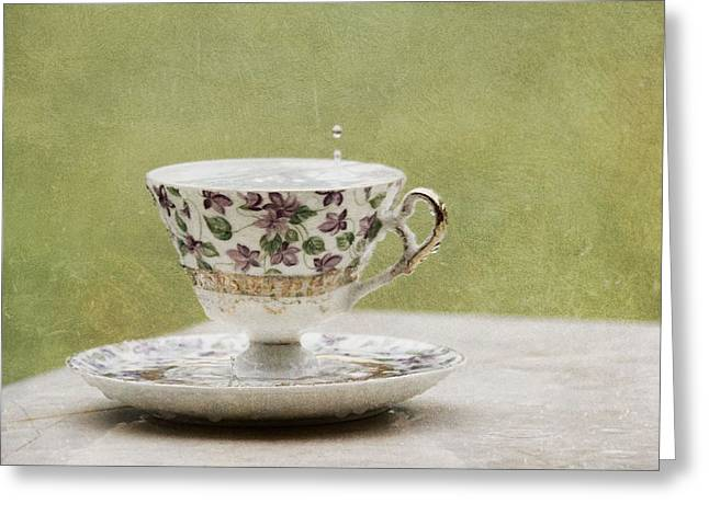 Rain On A Teacup IIi Greeting Card by Mary Hershberger