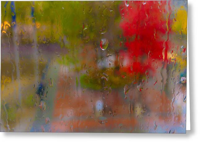 Rain On Glass Greeting Card by Susan Stone