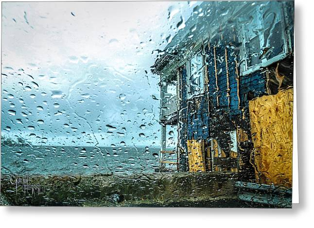Rain On Rowing Club House Greeting Card by Glenn Feron