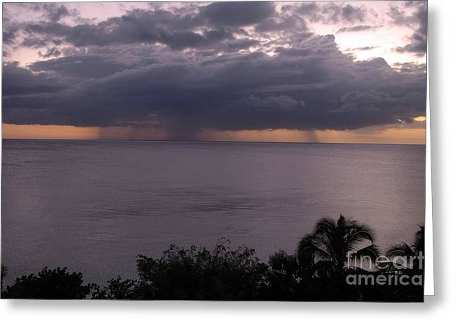 Rain On The Ocean Greeting Card