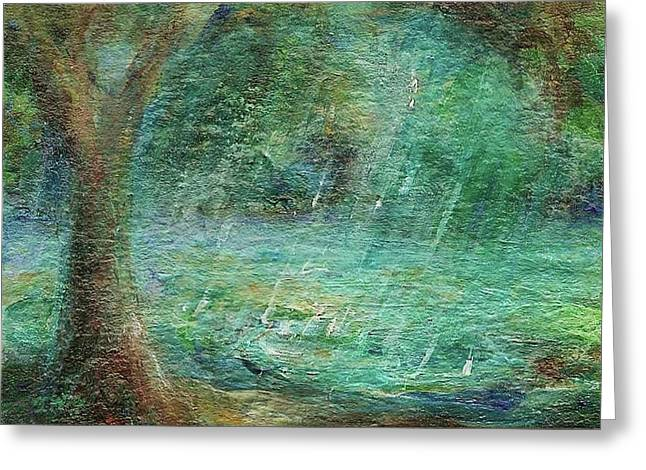 Greeting Card featuring the painting Rain On The Pond by Mary Wolf