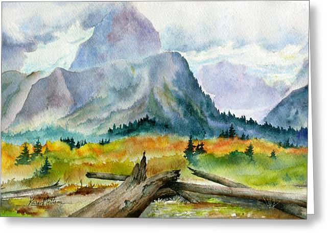 Greeting Card featuring the painting Rain On The Twenty Mile River by Karen Mattson
