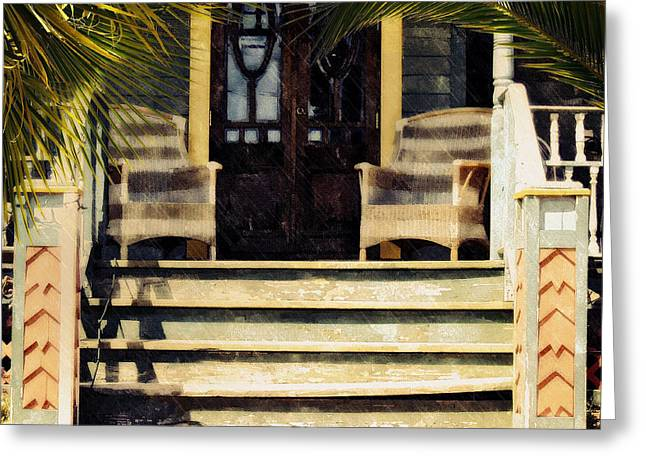 Greeting Card featuring the photograph Rain On The Veranda by Allen Beilschmidt