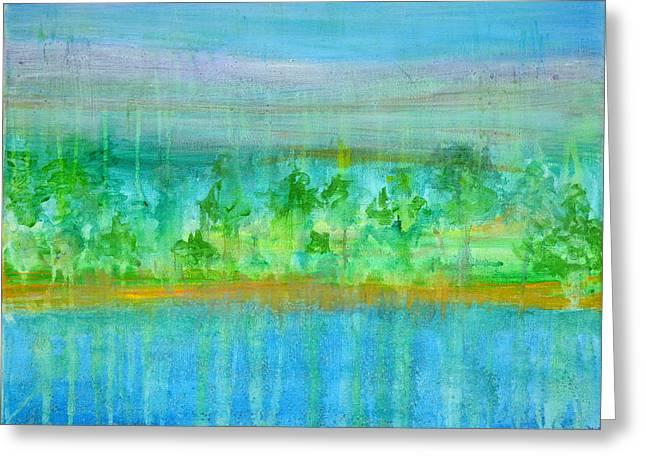 Rain  Original Contemporary Acrylic Painting On Canvas Greeting Card by Regina Valluzzi