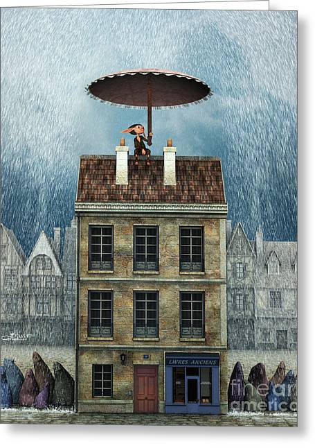Rain Protection Greeting Card by Jutta Maria Pusl