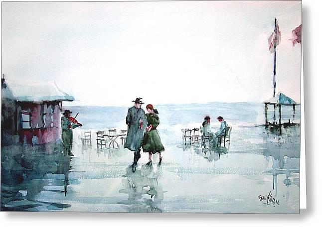 Greeting Card featuring the painting Rain Serenad - Moments Of Life... by Faruk Koksal