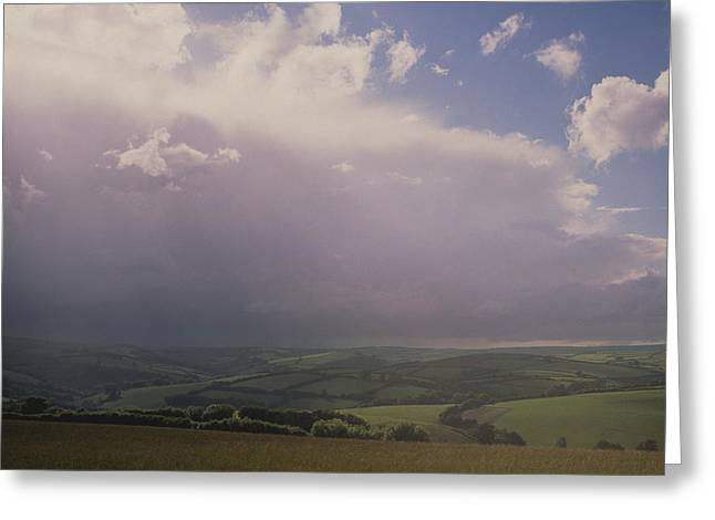 Rain Storm Over Exmoor Greeting Card by Tony Craddock/science Photo Library