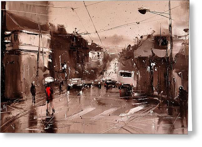 Rain Greeting Card by Timorinelt Tryptykieu