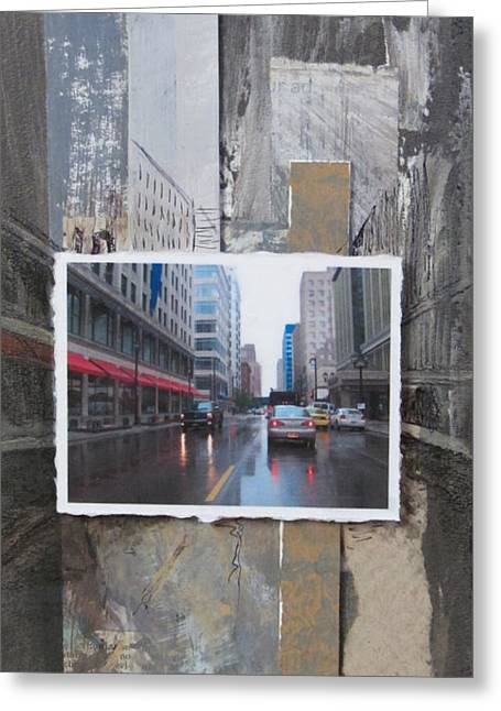 Rain Wisconsin Ave Wide View Greeting Card