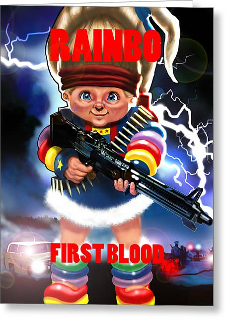 Rainbo First Blood Greeting Card by Tim Myers