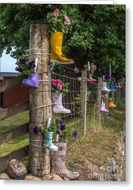 Rainboots Flowerpots Greeting Card