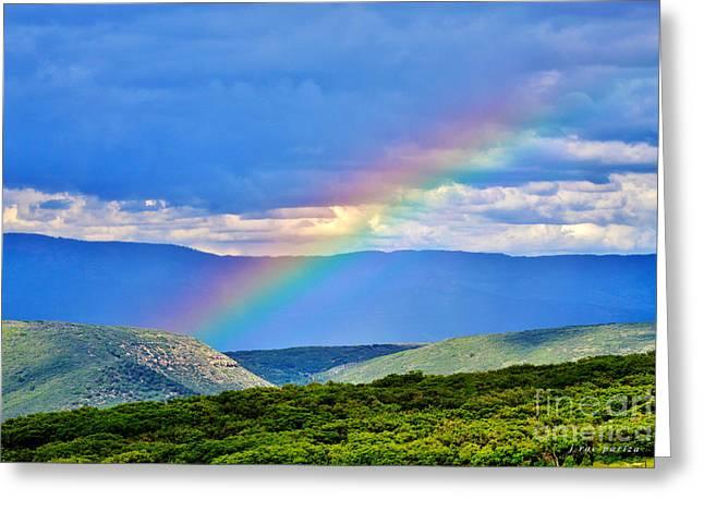 Rainbow Above The Canyon Greeting Card by Janice Rae Pariza