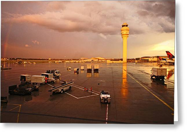 Rainbow And Airport  Greeting Card