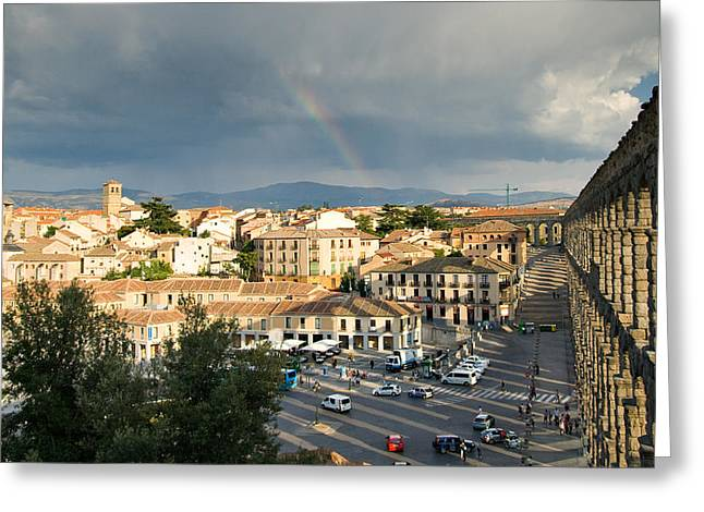 Rainbow And Ancient Aqueduct Greeting Card by Viacheslav Savitskiy