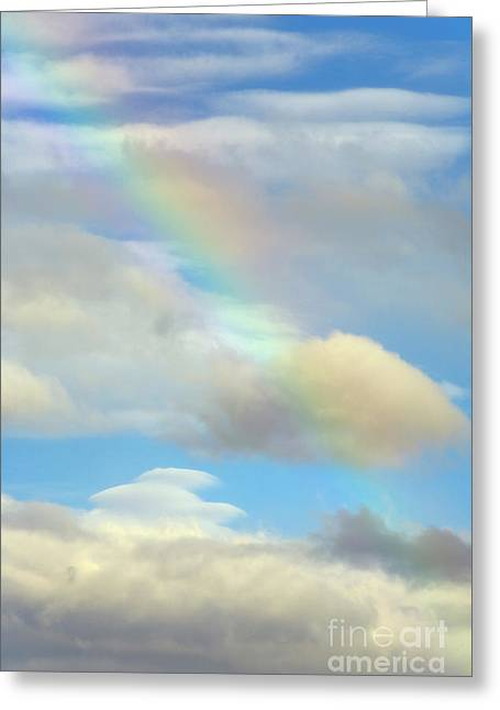 Rainbow And Cumulus Clouds Lava Beds N M Greeting Card by Yva Momatiuk John Eastcott