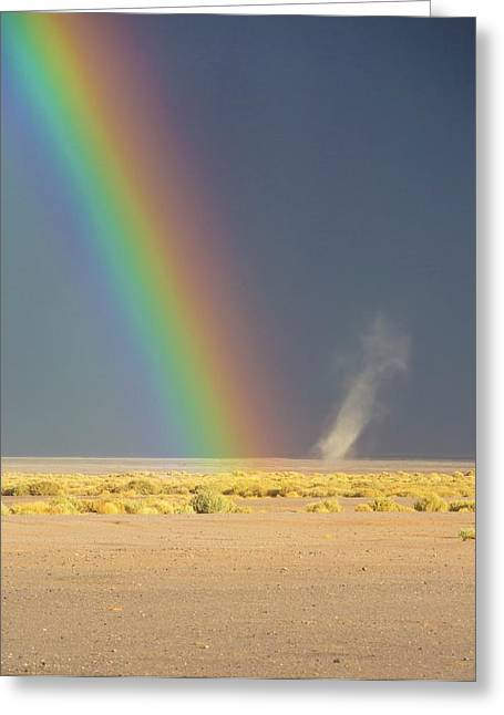 Rainbow And Dust Devil Greeting Card by Peter J. Raymond