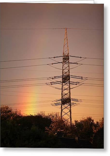 Rainbow And Electricity Pylon Greeting Card