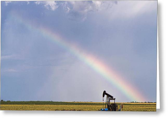 Rainbow And Oil Pump Greeting Card