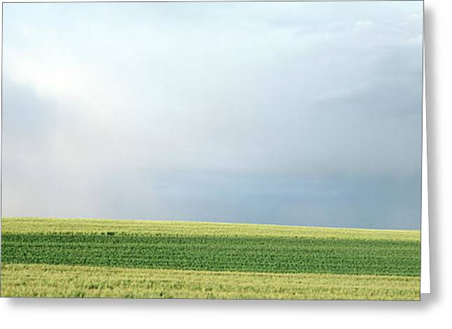 Rainbow And Storm Clouds Over A Field Greeting Card by Panoramic Images