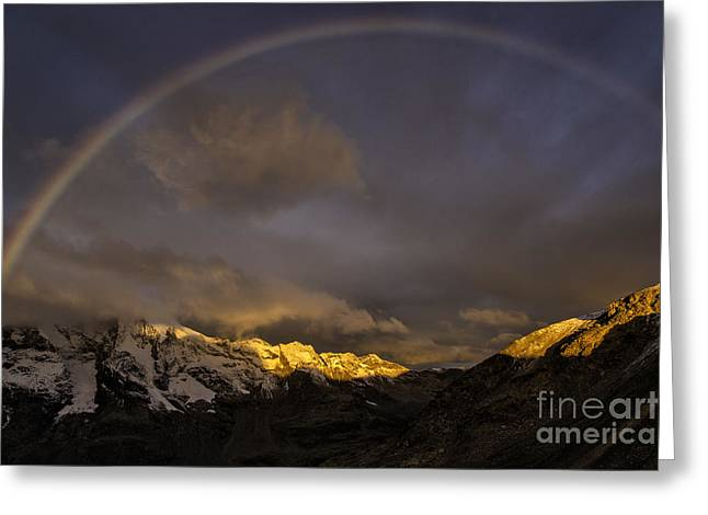 Rainbow At Diavolezza Greeting Card by Timothy Hacker