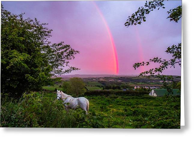 Rainbow At Sunset In County Clare Greeting Card
