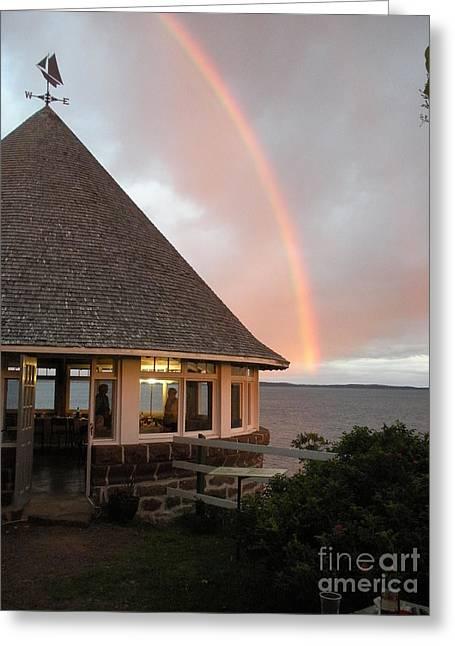 Rainbow At The Bath House Minister Island Nb Greeting Card