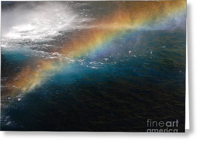 Greeting Card featuring the photograph Rainbow At Waterfall Base by Debra Thompson