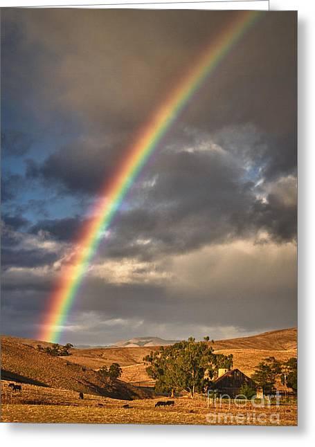 Rainbow Barn Greeting Card by Alice Cahill