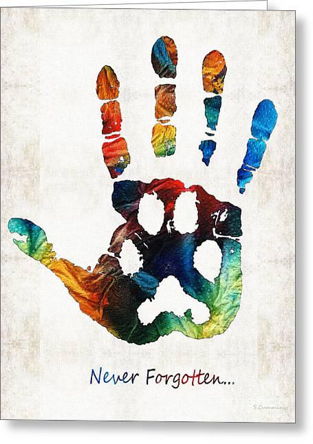 Rainbow Bridge Art - Never Forgotten - By Sharon Cummings Greeting Card