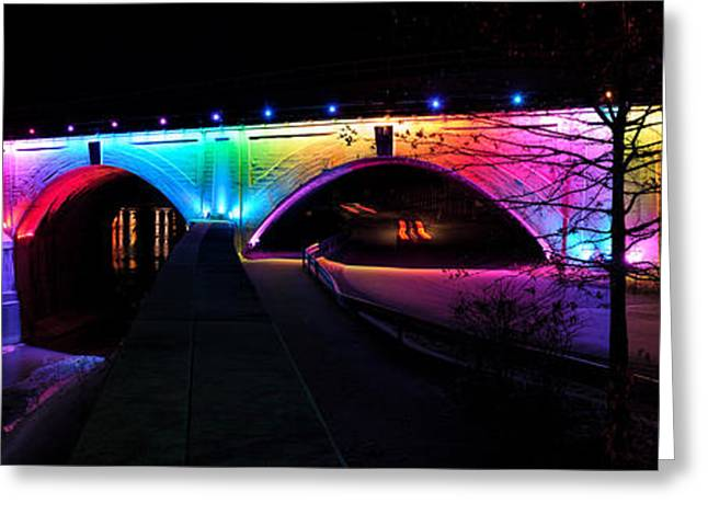 Rainbow Bridge Night Photography In Johnstown Pa Greeting Card by Andrew Dierks