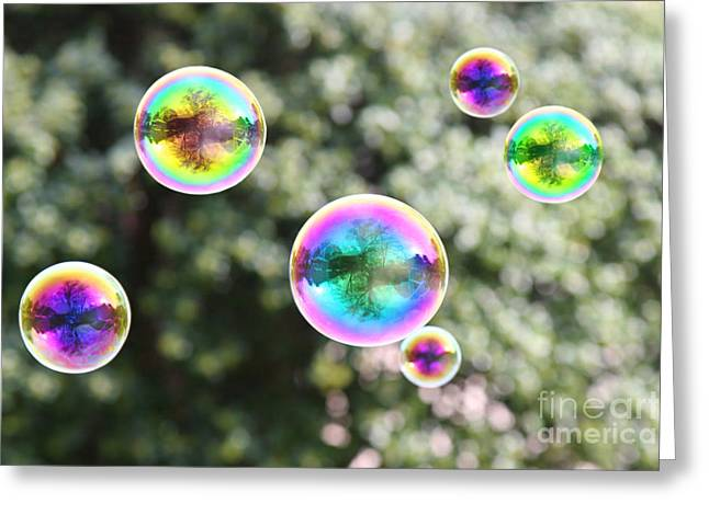 Rainbow Bubbles Greeting Card by Suzi Nelson