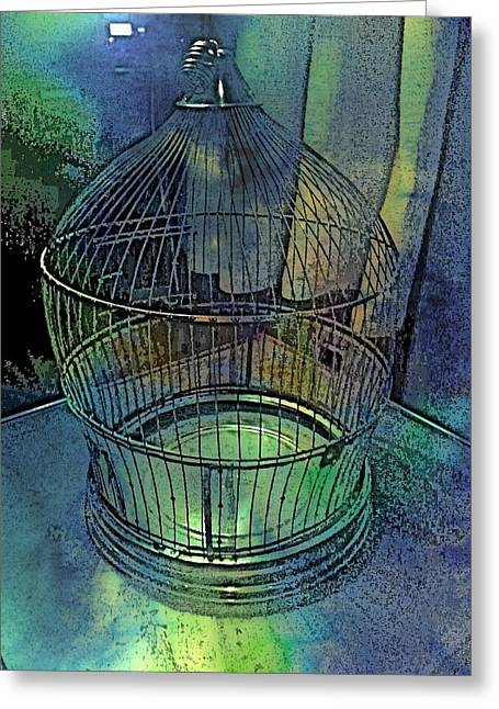 Rainbow Caged Greeting Card by ARTography by Pamela Smale Williams