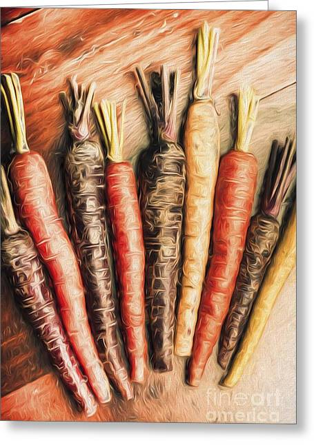 Rainbow Carrots. Vintage Cooking Illustration  Greeting Card
