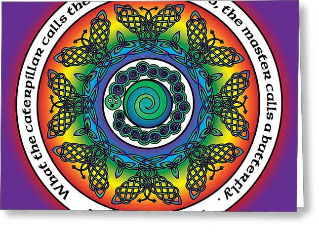 Rainbow Celtic Butterfly Mandala Greeting Card