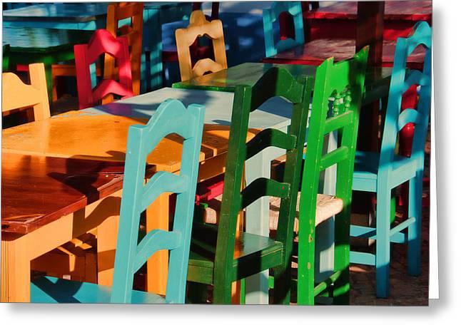 Rainbow Chairs Greeting Card by Pauline Flesseman