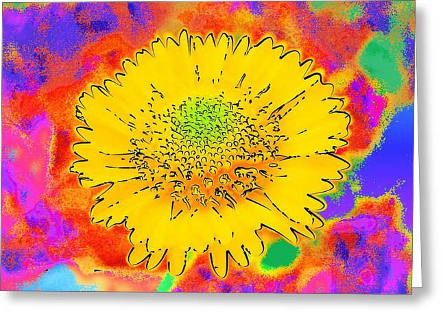Rainbow Colored Sunshine Flower- Because I'm Happy Greeting Card by David Mckinney