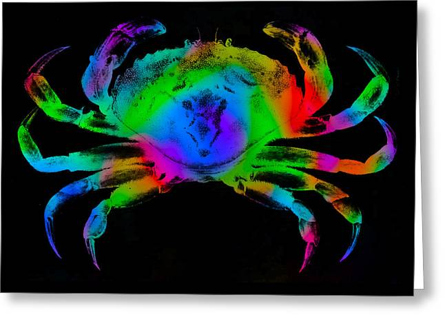 Greeting Card featuring the digital art Rainbow Crab by David Blank